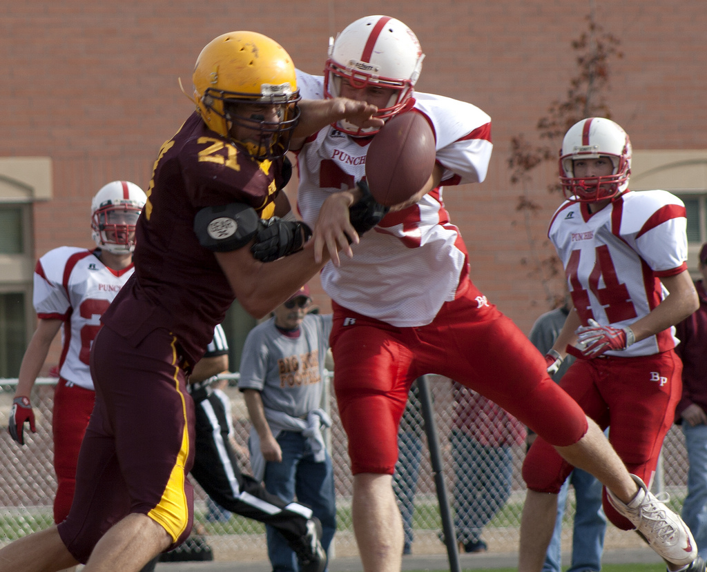 Big Horn and Big Piney face off in a 2010 playoff game. Photo courtesy Charlynn Schmiedt. Posted to the Wyoming high school football group on Flickr: https://www.flickr.com/groups/wyoming-football/